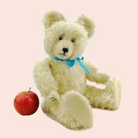 "German 1950s white mohair teddy bear made by Diem, 18"" tall"