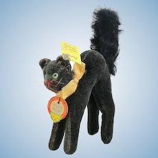 """Steiff Black Tom Cat all IDs, velvet, smallest 3"""", vintage 1959 to 1964"""