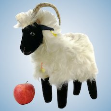 """Steiff mountain sheep, all IDs, largest 11"""" edition, 1964 only, squeaker"""