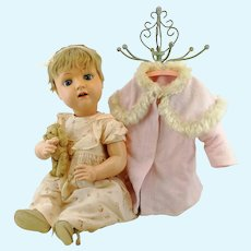 Large antique celluloid baby doll 1908 to 1919 by Bruno Schmidt Germany