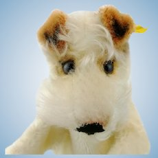 Steiff hand puppet Foxy terrier dog with IDs, vintage 1968 to 78