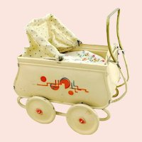 "Art Deco tin doll stroller pram, 5"" baby buggy 1920s German made"