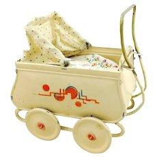 "Art Deco tin doll stroller pram, 5"" baby buggy 1920s German made"