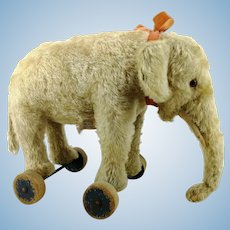 Steiff Elephant on wheels, US Zone tag, vintage 1950 only, 11""