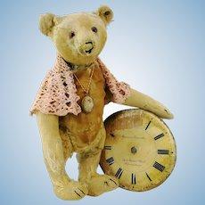 """Antique Steiff Teddy Bear with ff button, 16"""", around 1910, much loved, restored"""