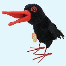 """Steiff Raven Hucky, all IDs, largest 7"""" vintage Halloween bird, 1966 to 67"""