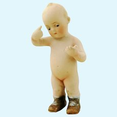 "Antique all bisque doll 1910s Limbach Germany, makers mark, 5"" Thinker Kewpie"