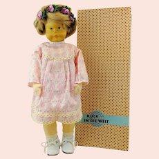 """Vintage artist doll, 1960s German Erzgebirge """"Krahmer Puppe"""", wooden head, cloth body, mib"""
