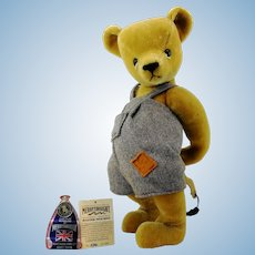 "Merrythought teddy bear ""Master Mischief"", English vintage 1992 ltd. edition 16"""