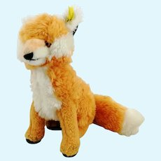 """Steiff fox Cosy Fuzzy with IDs, 1965 to 1967 made of Dralon plush, 8"""""""