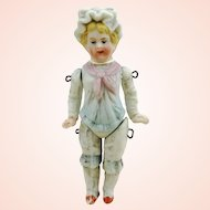 """Antique 1900s all bisque miniature dollhouse doll, small 3"""", German made, excavated, restored"""