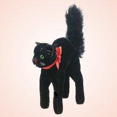 "Steiff Black Tom Cat vintage 1950 to 1962, midi 5"" caricatured mohair cat"
