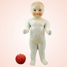 """Frozen Charlie blonde antique china doll, large 16"""", 1800s, white pink tinted face"""