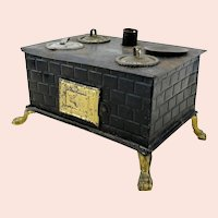 "Small Doll Kitchen Stove around 1910, 6"" wide"