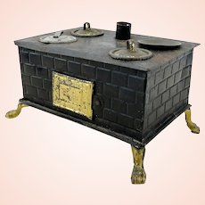 """Small Doll Kitchen Stove around 1910, 6"""" wide"""
