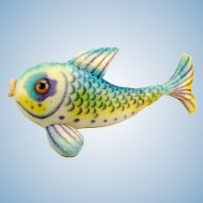"""Largest Steiff fish, 26"""" blue mohair Flossy, huge glass eyes, button, produced 1960 to 1964"""
