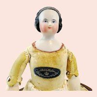 "China Head Doll, German made around 1850, 15"", leather body marked 'Imperial'"