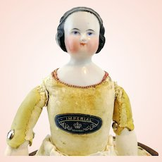 """China Head Doll, German made around 1850, 15"""", leather body marked 'Imperial'"""