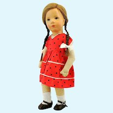 Kathe Kruse doll IX, 1930s Small German Child, cloth head and body, 14""