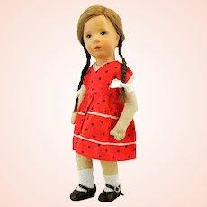 "Kathe Kruse doll IX, 1930s Small German Child, cloth head and body, 14"""