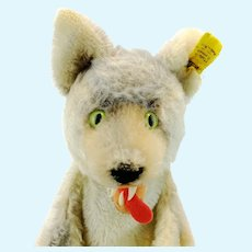 Steiff Wolf Hand Puppet with IDs, vintage 1968 to 78, teeth, lolling tongue