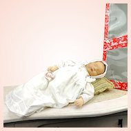 "Kathe Kruse Sandbaby, 20"", heavy 2,7 kilo midwife training baby doll, 1984 made, original clothes and box"