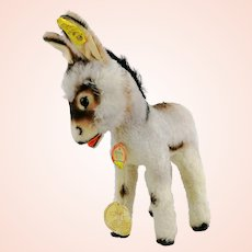 """Steiff donkey, all IDs, mint condition, 11"""" with ears, vintage 1968 to 1976"""