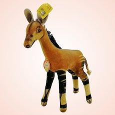 """Steiff Okapi, all IDs, 1965 to 67, smallest 6"""" vintage velvet animal"""