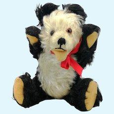 Hermann Teddy Panda bear, vintage 1950s, 8 inches