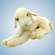 Steiff lying lamb vintage 1966 to 67 only, 11""