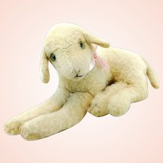 """Steiff lying lamb vintage 1966 to 67 only, 11"""""""