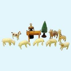 German Erzgebirge Miniature Nativity Scene Figurines, around 1900