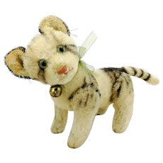 """Steiff cat Kitty 7"""", vintage 1949 to 64, fully jointed with glass eyes"""
