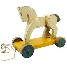 Art Deco white wooden horse on wheels, 1920s pull toy, 8""