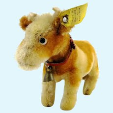 "Steiff cow Bessy with IDs, smallest 5"", vintage 1966 to 73"
