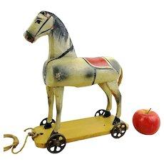 """Wooden horse on metal wheels, 1910s antique German toy, so called """"Odenwalder Gaulschen"""", 13"""" tall"""