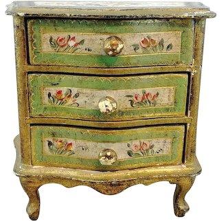 Vintage Florentine chest of drawers, dresser, vanity for dolls