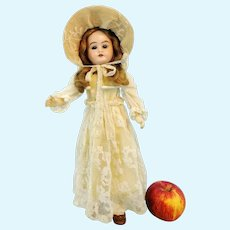 German bisque head doll, 1902, open mouth, teeth, makers mark, 14""