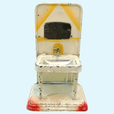 1920s Dollhouse Washstand, lithographed tin with mirror, working faucet