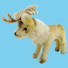 """Steiff reindeer, small 6"""", ideal vintage Christmas decoration, 1965 to 1970 made"""