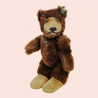 Steiff teddy baby bear with button, smallest, brown mohair, vintage made 1949 to 1957