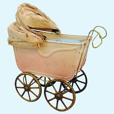 """Antique doll pram, baby carriage 5 by 3"""" made of tin around 1910"""