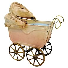 "Antique doll pram, baby carriage 5 by 3"" made of tin around 1910"