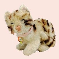Steiff cat Snurry with ID, vintage 1964 to 66 only, small sleepy eyes kitty