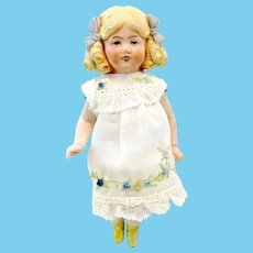 """Hertwig all bisque dollhouse doll 1980s replica, 6"""", jointed"""