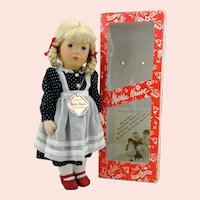 "Kathe Kruse doll girl Mimerle, vintage 1996, 14"", mib, doll 35H"