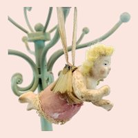 Antique wax angel, spun glass wings, original skirt, around 1850, early Christmas tree ornament