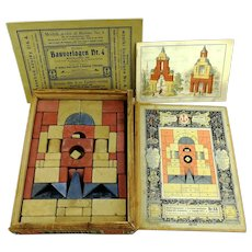 Anker stone building block set made 1910, complete with manuals, German antique