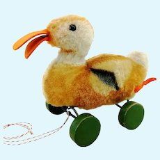 """Steiff duck on wheels, 7"""", vintage 1949 to 64 made"""