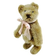 "Steiff teddy bear, miniature smallest 4"" edition, vintage made 1950 to 1964, beige mohair"
